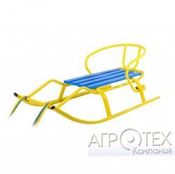 "Санки ""Спорт Ф1 "" желтые-синие (планка синяя)"