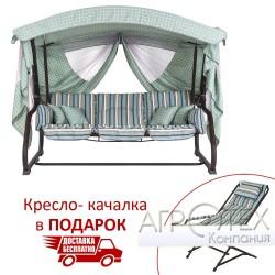 """Качели """"Алиса"""" (Дралон, Голубая вертикальная полоса) в подарок Кресло-качалка"""