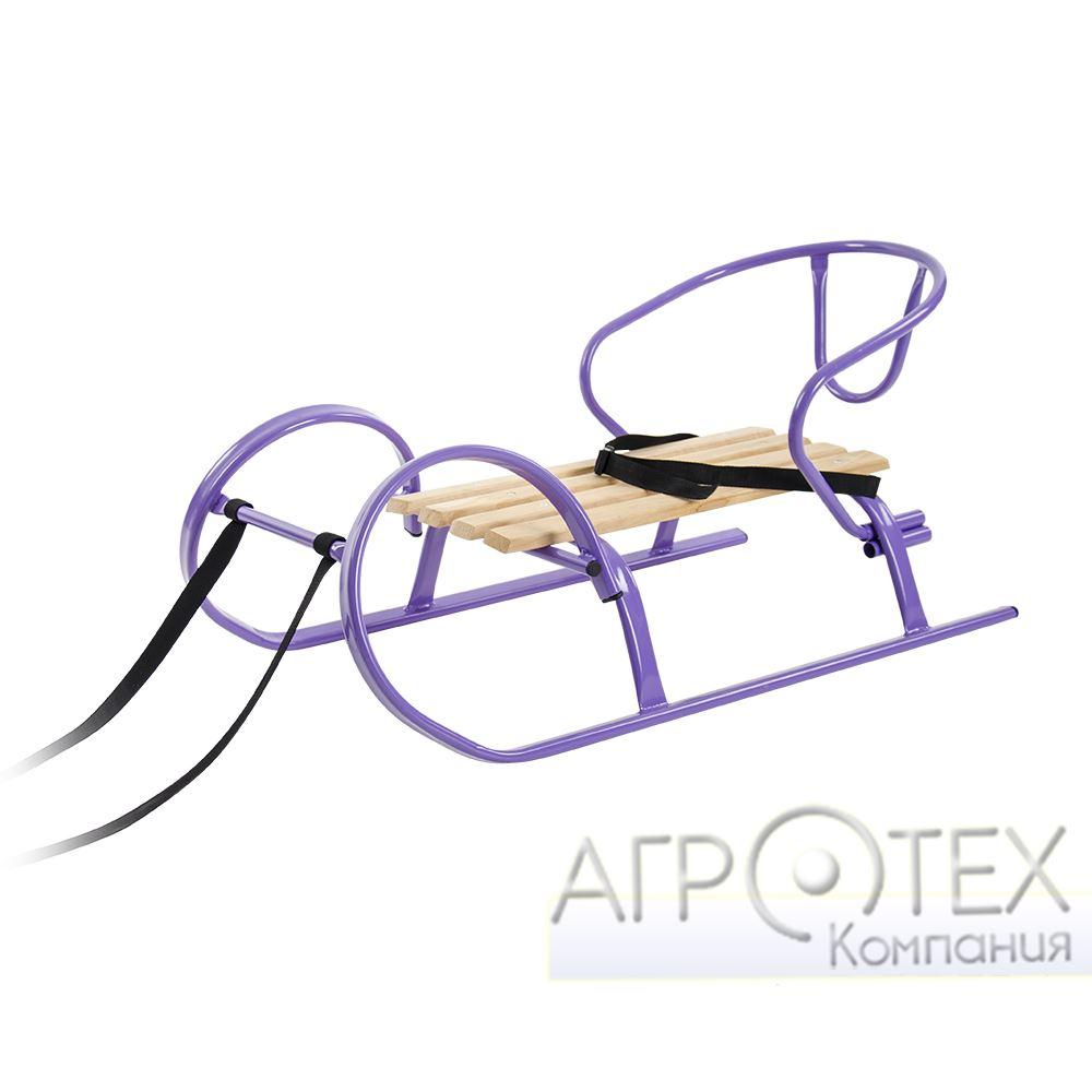 """Санки """"Снегирь мини"""" + спинка фиолет"""