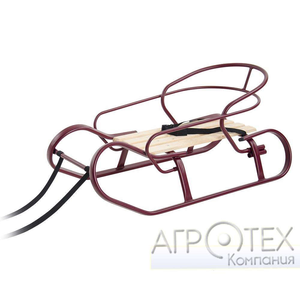 """Санки """"Экспресс"""" бордовая текстура + спинка + ручка"""